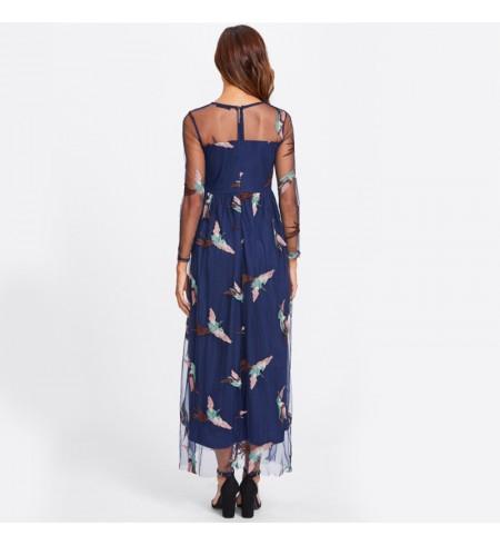 """Tamsiai Mėlynos Spalvos Suknelė ,,Bird"""""""