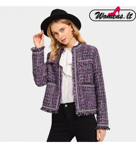 Violetinės Spalvos Moteriškas Švarkas