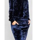 Tamsiai mėlynas veliūrinis kostiumėlis